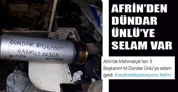 Afrin'den Başkan Ünlü'ye anlamlı mesaj
