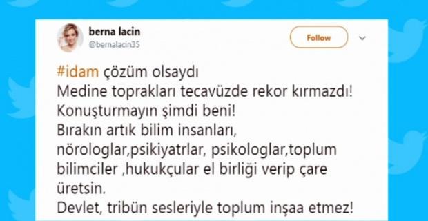 Berna Laçin'in idam tweetine hapis istemi