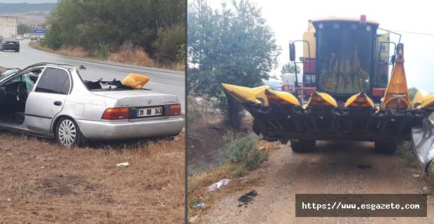 Biçerdöver ile otomobil çarpıştı: 1 ölü, 3 yaralı