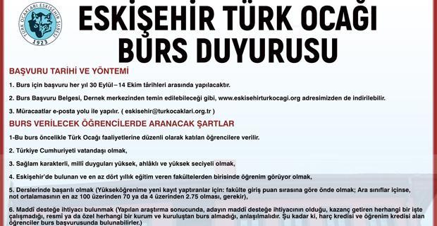 Eskişehir Türk Ocağı burs başvuruları başladı