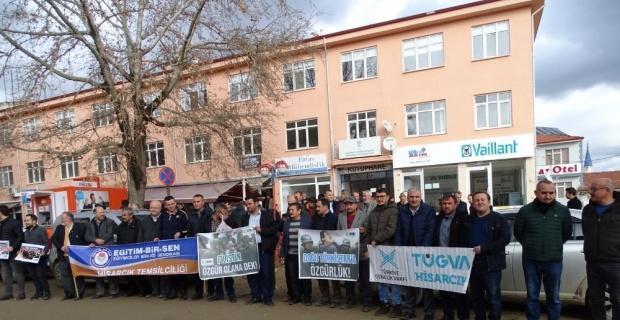 Hisarcık'ta STK'lardan Doğu Türkistan'da yaşanan zulme karşı ortak basın açıklaması