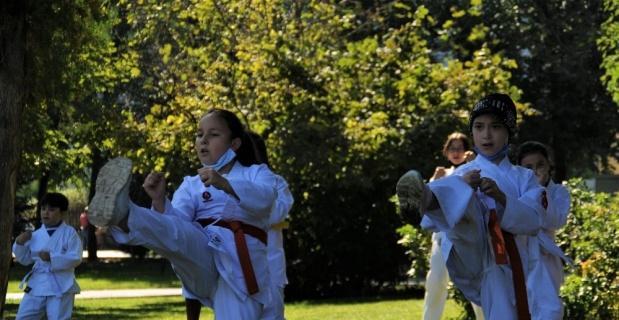 Öğrencileri için parkı karate sınıfına çevirdi