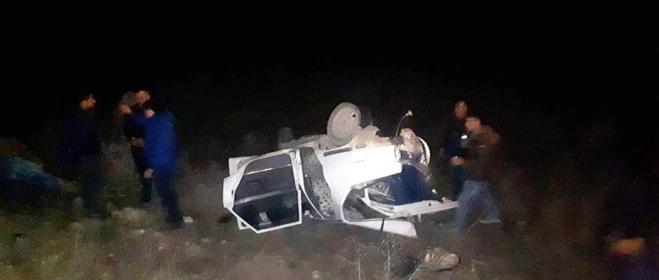 Gazı biten araçtan inen sürücü ölümden döndü