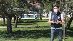 Eskişehir'de sokaklar drone ile denetlendi